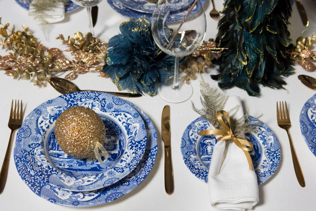 Spode's Blue Italian collection styled as christmas tableware